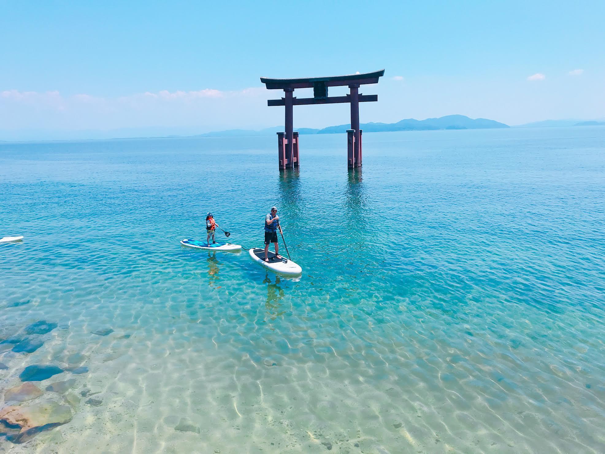 白鬚神社SUP体験(白ひげ浜水泳・キャンプ場)